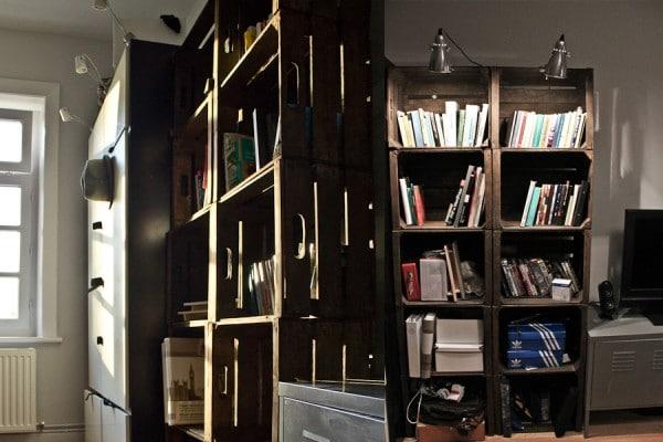 b cherregal aus apfelkisten zum selber bauen. Black Bedroom Furniture Sets. Home Design Ideas